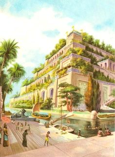"""Hanging Gardens of Babylon Picture from """"The Seven Wonders of the World"""" by John and Elizabeth Romer **VS** J A Brendon's reconstruction, 1924, possibly incorporating Herodo ..  http://www.scienceandnature.science/2017/05/21/hanging-gardens-of-babylon/"""