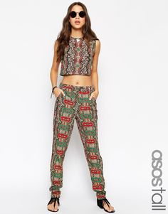 ASOS TALL Co-ord Woven Peg Trousers In Bright Paisley Print