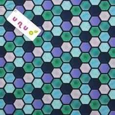 Potištěný softshell zimní s fleecem 10/3 Plástve Navy-Fialová-Modrozelená
