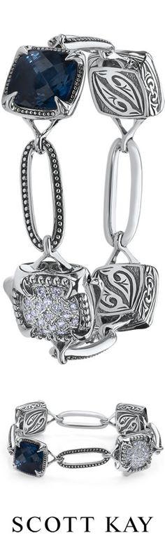 #ScottKay 12x12 Cypress Thorn bracelet with cushion cut london blue topaz and a .25 diamond clasp. Price: $1,995