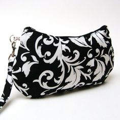 Bridal Pleated Wristlet Clutch Purse White Scroll by LMcreation