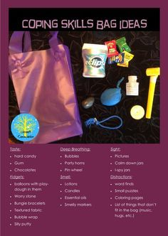 Coping Skills Toolbox Coping skills bag ideas for play therapy or classrooms Mental Health Activities, Counseling Activities, Art Therapy Activities, School Counseling, Health Education, Therapy Worksheets, Group Counseling, Work Activities, Therapy Tools