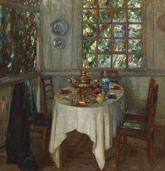 Interior with Samovar, 1914, Stanislav Yulianovich Zhukovsky@@@@@......http://www.pinterest.com/lindafloyd1001/art-interiors/  @@@@@@