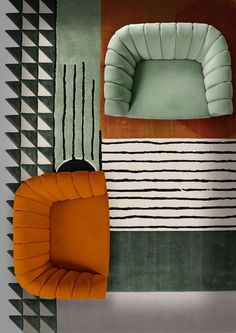 A great combo cross between a stunning single sofa by and the simba rug by A colourful and decor project inspiration! Contemporary Home Furniture, Contemporary Rugs, Living Room Essentials, Rug Inspiration, Velvet Armchair, Single Sofa, Luxury Home Decor, Luxury Homes, Geometric Rug