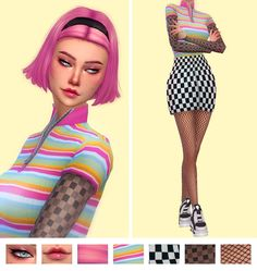 """Naevys Sims: Zdjęcie egrrrl: """"eyeliner - eyeshadow - lips - hair - bodysuit - skirt - under shirt - shoes - fishnets (base game) """" Sims 4 Cc Packs, Sims 4 Mm Cc, Sims Four, Body Rock, Sims 4 Mods Clothes, Sims 4 Clothing, Maxis, Los Sims 4 Mods, Sims 4 Anime"""