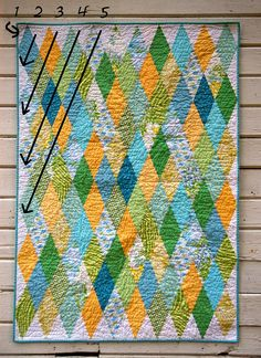 See the Diamond Quilt tutorial @ urban-patchwork