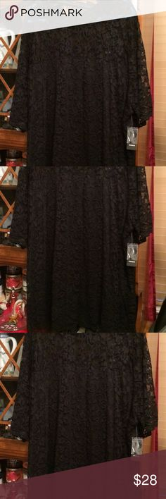 TORRID 6 BLACK LACE TOP NWT 3X 4X 5X BEAUTIFUL TORRID SIZE 6X.  THIS IS HARD TO CAPTURE IN THE PICTURES.  IT'S BLACK LACE TOWARD THE TOP TO THE NECKLINE AND THEN IT'S BLACK LACE AT THE BOTTOM BUT THAT PART IS LINED.  IT ALSO HAS A KEYHOLE NECK WITH THREE LITTLE BLACK BUTTONS AT THE TOP OF THE NECK IN THE BACK.   SHOULD EASILY FIT OTHER THAN 6X ALSO. torrid Tops