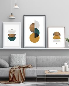 Abstract Prints Set of 3 Triptych Geometric Wall Art Large image 0 Wall Art Sets, Diy Wall Art, Large Wall Art, Wall Art Prints, Geometric Wall Art, Abstract Wall Art, Geometric Shapes, Cuadros Diy, Modern Gallery Wall