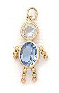 14k 5x7mm Boy March Birthstone CZ Pendant - JewelryWeb JewelryWeb. $131.20