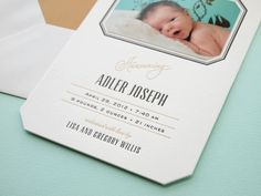 I'm absolutely in love with these sophisticated baby announcements from Lisa at Missive – from the 1950s-inspired typography and subtle touches of gold foil to