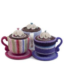 teacup pincushions made from old WOOL sweaters (felted) - so gorgeous!
