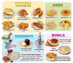 Valley Dairy Restaurants Kids Menu Valley Dairy, Kids Cafe, Garlic Pasta, Kids Menu, Cheese Potatoes, Corn Dogs, Penne Pasta, Dessert Bowls, Chicken Tenders
