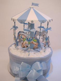 Blue and White Nappy Go-Round Carousel Cake Blue and White Nappy Go-Round Carousel Cake - Newborn Diaper Change Baby Shower Cakes, Baby Shower Diapers, Baby Shower Parties, Baby Boy Shower, Baby Shower Gifts, Baby Gifts, Diaper Cake Boy, Baby Boy Cakes, Nappy Cakes