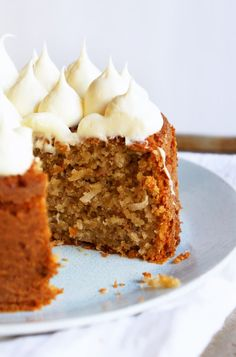 Banana Cake with Coconut and Creamy Honey Frosting (healthy & gluten-free)