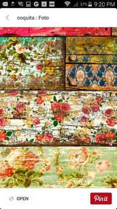 old roses: Wallpaper on old wood, then sandpaper. patina decoupage con rosas y despues lijado Painted Furniture, Diy Furniture, Painted Wood, Decoupage Furniture, Painted Boards, Repurposed Furniture, Old Wood, Wood Crafts, Betta