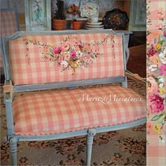 Hand made one-of-a-kind wood settee painted in French blue with white wash. Vintage pink checker silk with lovely urn and floral bouquet and