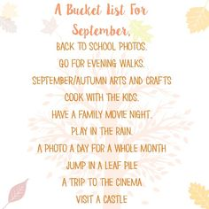 Our September Bucket List. - Ups & Downs, Smiles & Frowns