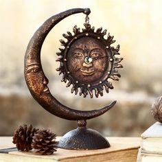 SPI Home Sun & Moon Table Clock this is pretty cool! Sun Moon Stars, Sun And Stars, Moon Table, Tabletop, Moon Design, Paperclay, Moon Art, Bohemian Decor, Sculpture