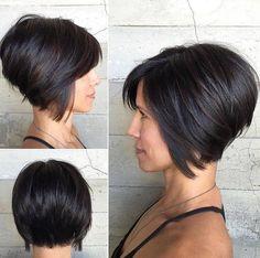 Short Inverted Bob Haircut For Thick Hair: