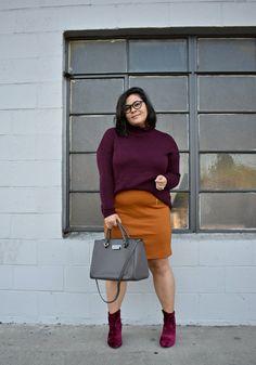 6e3afaaf7447e Aubergine turtleneck sweater   suede mini  OOTD