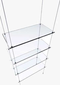 glass floating shelves with wires - Google Search