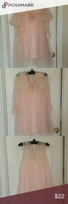 Three piece lingerie set, bridal, vintage, Sheer peach nylon bridal set, perfect condition, has negligee, robe, and over robe.  Made in USA, says size medium, but I'd say xs.  From 60's is my estimate. Intimates & Sleepwear Pajamas