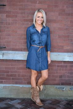 Button up denim dress with brown stamped belt.