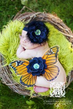 Sleeping Beauty Monarch Butterfly Wings and Maribou Headband Beautiful Photo Prop First Christmas Photos. $34.99, via Etsy.