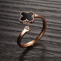 Women Stainless Steel Black Four Leaf Clover Ring Rose Gold Plated CZ Band