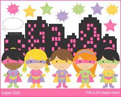 digital clipart superhero clip art super hero girls - BUY 2 GET 2 FREE - Super Girls Digital Clipart. $4.95, via Etsy.