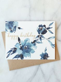 Embroidery Beginners Indigo Floral Birthday Card — Abigail Jayne Design - Our birthday card features a hand painted floral with gold foil accents. This card is perfect for wishing anyone a happy day. x brown craft envelope blank inside Watercolor Birthday Cards, Birthday Card Drawing, Birthday Card Design, Watercolor Cards, Diy Birthday, Card Birthday, Watercolour, Easy Birthday Cards, Happy Birthday Painting