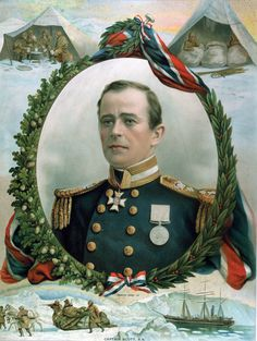 A memorial image of Scott's famed attempt to be the first man representing the first nation to step foot on the South Pole.  In this image he is not portrayed as a frostbitten and exhausted man but rather as a British gentleman dressed in his military uniform.  The border surrounding his portrait is in front of the flag of Britain, further showing how Scott was turned into a national figure and the glorified embodiment of what it meant to be British.