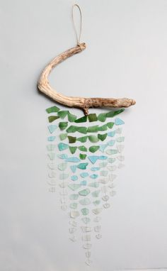 Sea Glass & Driftwood Mobile - Ombre on Etsy, $139.00
