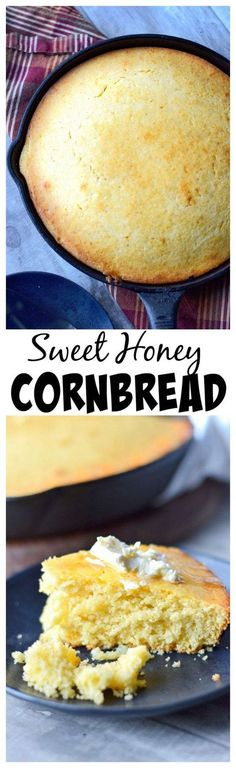 This Sweet Honey Cornbread recipe is moist and delicious with a perfect golden brown crust. (recipes with biscuits southern style) Honey Cornbread, Cornbread Recipes, Great Recipes, Favorite Recipes, Fall Recipes, Biscuits, Good Food, Yummy Food, Naan