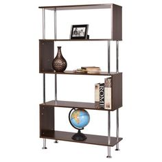 Costway 32''x12''x58'' 4 Shelf Bookcase Wooden Bookshelf Storage Display Unit Furniture