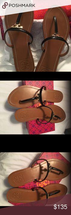 Tory Burch T Logo Flat Thong Sandals, size 10