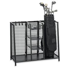 Keep your golf equipment and accessories neatly stored in this conveniently designed golf organizer. The sturdy metal construction is durable and attractive, making it an easy addition to any storage space, spare room or garage.