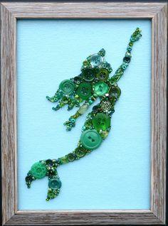 Green Mermaid Button & Bead Wall Art with Swarovski Crystals