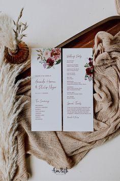 Burgundy Wedding Program Card Template - Burgundy Party Theme #burgundywedding #maroonwedding #merlotwedding #marsalawedding #burgundyflorals #maroon #burgundy #wedding #weddinginspo #bridetobe #weddingdecor #bridalshowerdecor #burgundybridal #template #printable #diy #editable #personalized #winterwedding #fallwedding #autumnwedding #weddingprogram #program #programtemplate #orderofceremony