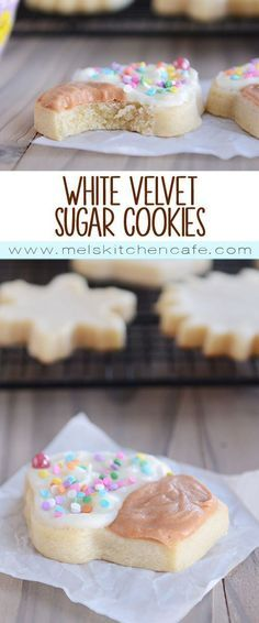 These white velvet sugar cookies just might be the softest, most delicious sugar cookies you'll ever meet thanks to the secret ingredient that makes them unique AND perfect! Oh, white velvet sugar cookies. Cookie Desserts, Just Desserts, Delicious Desserts, Cookie Favors, White Desserts, Delicious Dishes, Yummy Cookies, Yummy Treats, Sweet Treats