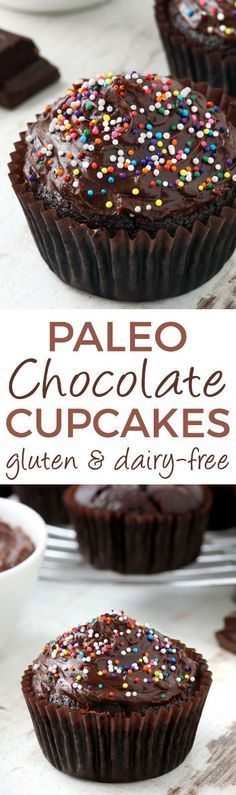 These paleo chocolate cupcakes are moist but not eggy and have a rich dark chocolaty taste! (gluten-free grain-free dairy-free) These paleo chocolate cupcakes are moist but not eggy and have a rich dark chocolaty taste! Dessert Oreo, Dessert Sans Gluten, Gluten Free Sweets, Paleo Dessert, Dairy Free Recipes, Healthy Desserts, Real Food Recipes, Paleo Recipes, Disney Recipes