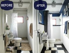 s 11 people who made the most of their tiny bathroom, Add depth with a half…