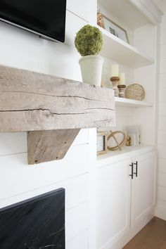Home Renovation Fireplace Chunky wood Mantel Real reclaimed wood matel DIY Real reclaimed wood mantel fireplace mantel Chunky wood Mantel Real reclaimed wood Home Fireplace, Fireplace Design, Home Remodeling, New Homes, Fireplace Remodel, Home Decor, House Interior, Fireplace Built Ins, Farmhouse Fireplace Mantels
