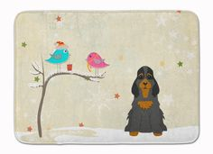 Christmas Presents between Friends Cocker Spaniel Black Tan Machine Washable Memory Foam Mat BB2565RUG