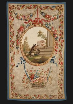Antique aubusson tapestry in petit point circa 1770.