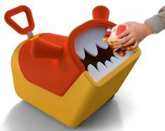 "Its a monster toy box that ""eats"" toys! It helps kids learn to pick up their toys AND it rolls so they can ride on it to pick up the toys"