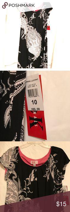 Paisley Dress Super cute black & white paisley dress with pink lining R & K Originals Dresses Midi