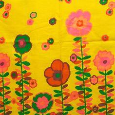 Vintage Fabric Marimekko Like Design Border Print Hot Pink Orange Purple Green Red Yards Orange And Purple, Orange Flowers, Color Shapes, Colour, Border Print, Red Accents, Marimekko, Bold Colors, Fabric Flowers