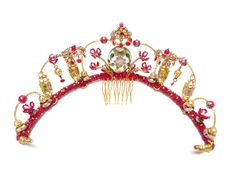 Beaded bridal tiara in gold and red inspired by Chinese culture