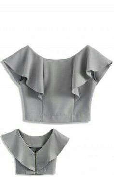 FRONT - Frilling shoulder - Boat neckline with deep V-shape back - Exposed back zip closure - Cotton, Polyester - Machine washable Size(cm) Length Bust Waist S/M 34 94 74 Size(inch) Length Bust Waist S/M 37 29 * S/M fits for Drift in a Frilling Grey Cropp Saree Blouse Designs, Blouse Patterns, Blouse Styles, Sewing Clothes, Diy Clothes, Clothes For Women, Boat Neck Tops, Top Boat, Boat Neck Dress